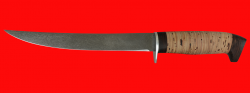 """Филейный нож """"Судак большой"""", клинок сталь Х12МФ, рукоять береста"""