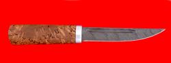 """Охотничий нож """"Якутский средний"""", клинок дамасская сталь, рукоять стабилизированная карельская берёза (цвет натуральный)"""
