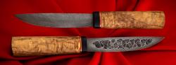 Якутский таёжный нож 002, ручная ковка, клинок дамасская сталь, заточка линза, рукоять карельская берёза