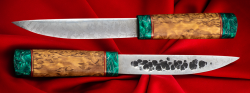 Якутский таёжный нож 004, ручная ковка, клинок сталь Х12МФ, заточка линза, рукоять карельская берёза