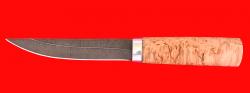 """Охотничий нож """"Якутский средний"""", клинок дамасская сталь, рукоять карельская береза"""