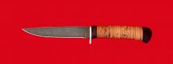 """Нож """"Засапожный №2"""", клинок дамасская сталь, рукоять береста"""